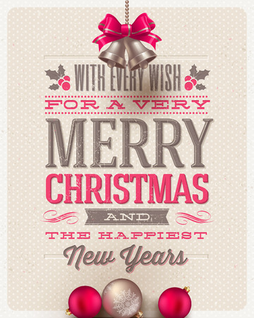 Christmas type design, holidays decoration and hand bells on a cardboard background - vector illustration