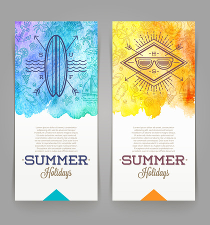 Illustration pour Summer holidays and travel banners with line drawing hipster emblems - vector illustration - image libre de droit