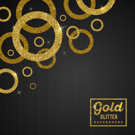 Ilustración de Vector background with glitter golden rings - Imagen libre de derechos