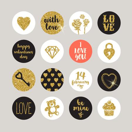 Illustration pour Valentines holiday vector set - glitter gold design elements and lettering - image libre de droit