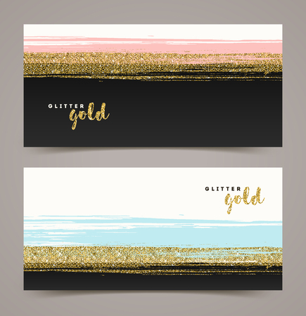 Illustration for Banners with grunge glitter gold stripe, vector illustration, background for your design - gift card, gift voucher, coupon, visit card, label etc. - Royalty Free Image