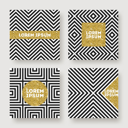Illustration for Set of abstract vector design, Glitter gold banner on a black and white geometric striped background. Design for invitation, greeting card, cover or flyer - Royalty Free Image