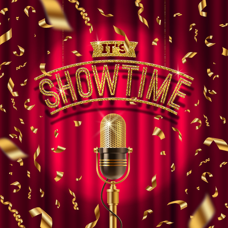 Illustration pour It's Showtime golden signboard and Retro microphone on stage in spotlight against the background of red curtain and golden confetti. Vector illustration. - image libre de droit