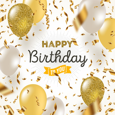 Ilustración de Happy birthday vector illustration - Golden foil confetti and white and glitter gold balloons. - Imagen libre de derechos