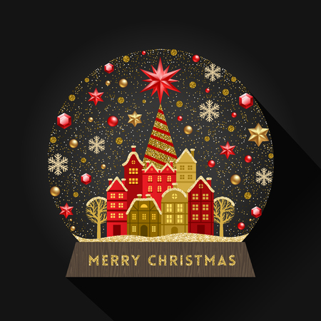 Illustration for Decorative illustration flat snow globe. Christmas vector illustration. - Royalty Free Image