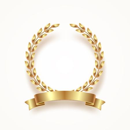 Illustration pour Golden laurel wreath with ribbon. Vector illustration. - image libre de droit
