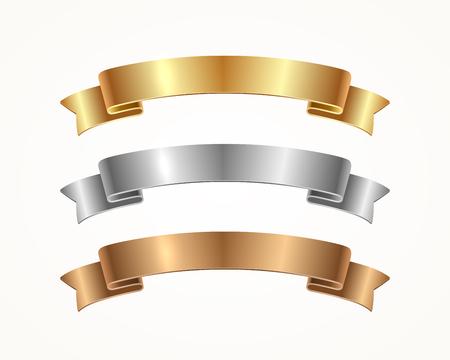 Ilustración de Set of banner ribbon - gold, silver, bronze. Vector illustration. - Imagen libre de derechos