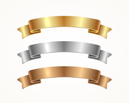 Illustration for Set of banner ribbon - gold, silver, bronze. Vector illustration. - Royalty Free Image