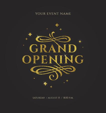 Illustration pour Grand opening - glitter gold logo with flourishes ornamental elements on black background. Vector illustration. - image libre de droit