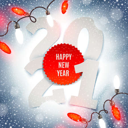 Illustration pour New years 2021 greeting illustration - paper year number and Holiday light garland on a snow. - image libre de droit