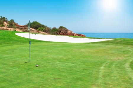 Golf course on the background of the sea  Summer