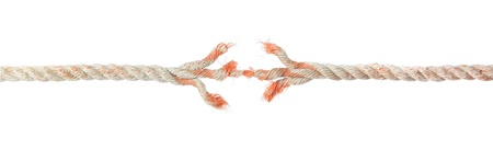 Broken braided rope on a white background.