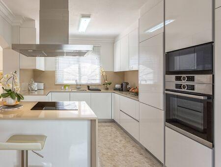Photo pour Modern kitchen with electric stove and appliances for use. - image libre de droit