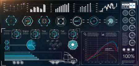 Ilustración de Futuristic user interface. HUD UI. Abstract virtual graphic touch user interface. Cars infographic. Vector science abstract.  Vector illustration. - Imagen libre de derechos