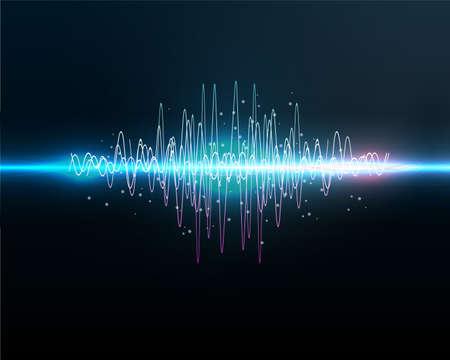 Illustration pour VOICE RECOGNITION.Sound waves oscillating glow light, Abstract technology background - Vector - image libre de droit