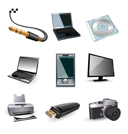 Icons of computer vector electronic: tv, printer, laptop, photo