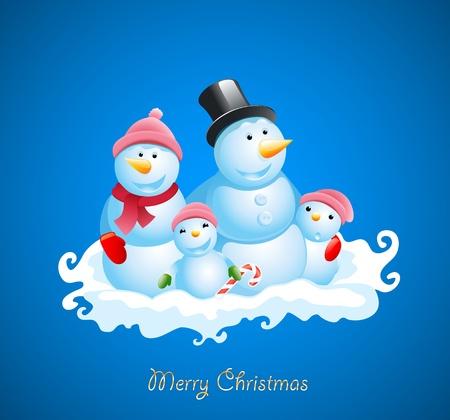 Christmas vector background. Happy snowman