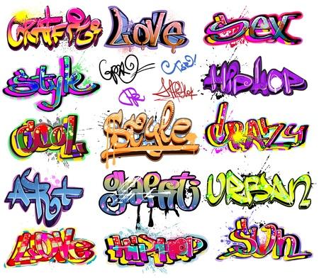 Graffiti urban art vector set