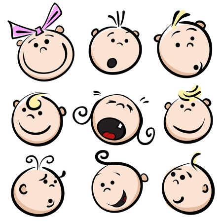 Illustration for Kid face cartoon icons - Royalty Free Image