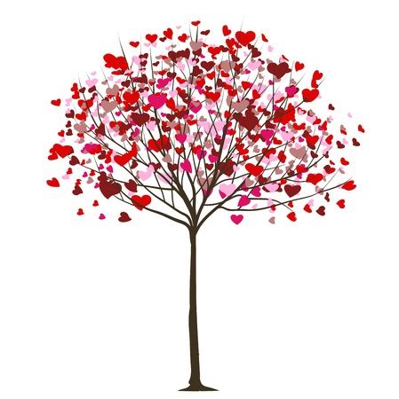 Illustration pour valentine tree with hearts  - image libre de droit
