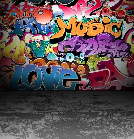 Illustration for Graffiti wall urban background - Royalty Free Image