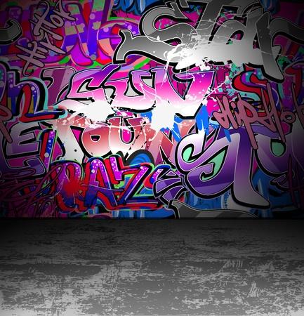 Graffiti wall background, urban street grunge art vector design