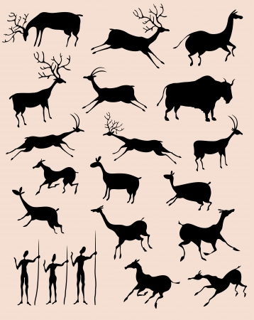 Cave rock painting animals silhouettes  set