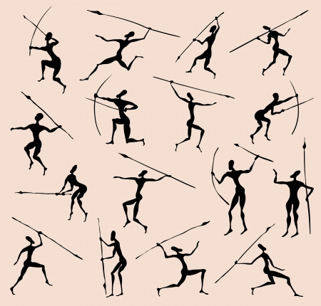 Cave rock painting tribal people silhouettes  set