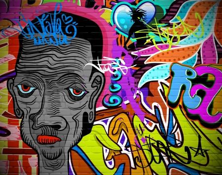 Graffiti wall urban art background  Grunge hip hop artistic design