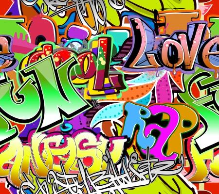 Graffiti wall  Urban art vector background  Seamless hip hop texture