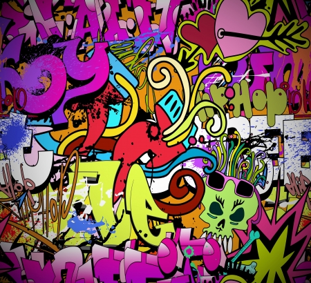 Graffiti wall art background  Hip-hop style seamless texture pattern