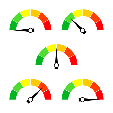 Illustration pour Speedometer icon or sign with arrow. Collection of colorful Infographic gauge element. Vector illustration. - image libre de droit