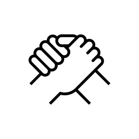 Illustration pour Handshake of business partners. Human greeting. Arm wrestling symbol. Vector illustration. Eps 10. - image libre de droit