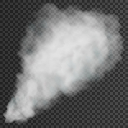 Illustration pour White smoke puff isolated on transparent background. Vector illustration. Eps 10. - image libre de droit
