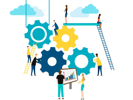 Illustration pour Concept of Teamwork, people building gear wheels. isolated on white background. Vector illustration. - image libre de droit