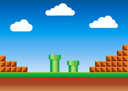 Ilustración de Old video game. retro style Background. Vector illustration. Eps 10 - Imagen libre de derechos