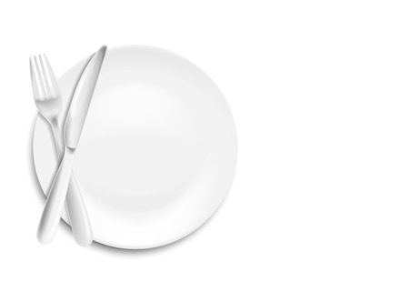 Illustration pour Stainless steel knife, spoon and fork with plate isolated on white background. Vector illustration. Eps 10. - image libre de droit