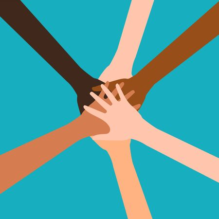 Illustration pour Hands of diverse group of people putting together isolated on white background. Vector illustration. Eps 10. - image libre de droit
