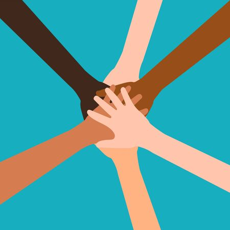 Illustration for Hands of diverse group of people putting together isolated on white background. Vector illustration. Eps 10. - Royalty Free Image
