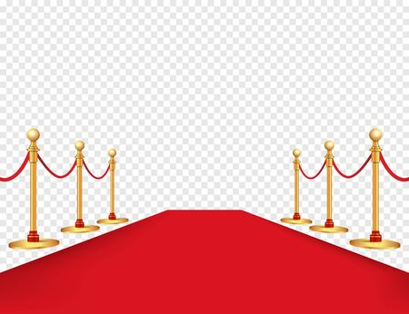 Illustration pour Red carpet and golden barriers realistic isolated on background. Vector illustration - image libre de droit