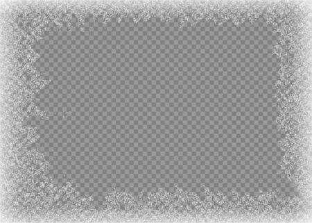 Illustration pour Snow frame. Frozen window. Window frozen glass ice. Vector illustration. - image libre de droit