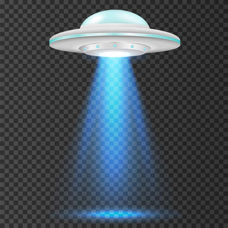 Illustration pour UFO - alien spaceship with blue lights. isolated on background. Vector illustration. Eps 10. - image libre de droit