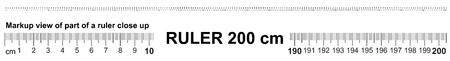 Illustration pour Ruler 200 cm. Precise measuring tool. Ruler scale 2.0 meter. Ruler grid 2000 mm. Metric centimeter size indicators - image libre de droit