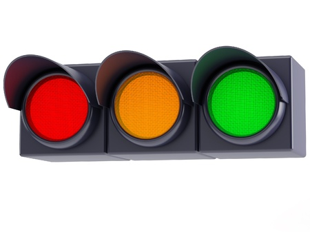 horizontal traffic lights with red, yellow and green light