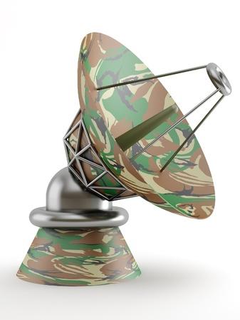 military dish antenna on white background