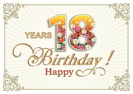 Illustration for Greeting card birthday 18 years against the backdrop of the sun's rays in a frame with an ornament - Royalty Free Image