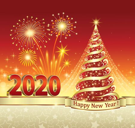 Ilustración de 2020 New Year celebration with Christmas tree and fireworks. Greeting card with stars and red background decorated with gold ribbon.Vector illustration - Imagen libre de derechos