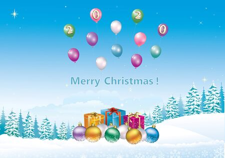 Illustration pour Happy New Year 2020. Christmas card with gift boxes, balls on background of winter snowy landscape with fir trees and balloons. Vector illustration - image libre de droit