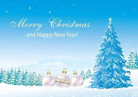 Illustration pour Happy New Year 2020. Christmas tree on a background of snowy winter - image libre de droit