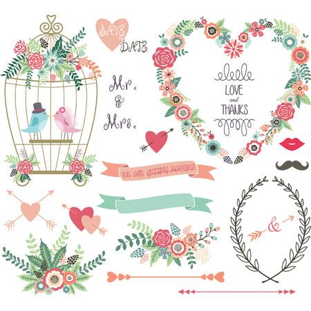 Foto de Wedding Floral love BirdLaurelsWedding invitation collections. - Imagen libre de derechos